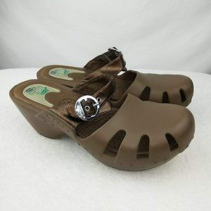 Dr. Scholls Brown Platform Rubber Sandals